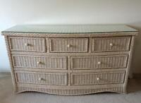 Large White Wicker Dresser with 7 Drawers
