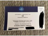 1х U2 Ticket Standing at the O2 for 24th Wednesday October.