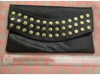 LARGE FOLDING LEATHER EFFECT BROWN BRASS STUDDED MISO LADIES CLUTCH BAG