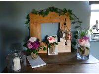 vintage/romantic artificial flower arrangements