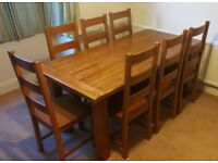 Solid Family Farmhouse Dining Table w/ 8 Chairs, 180x90x75cm, £450 ONO