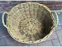 Wicker basket oval shape log basket maybe