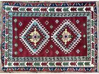 RED GROUND TURKISH RUG CARPET GEOMETRIC AZTEC LEAF BORDERS, MEDALLIONS 160x120cm