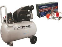 JEFFERSON 50 Litre Air Compressor 230v 2HP + 5pc AIR KIT