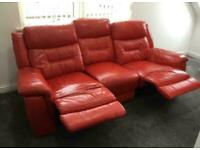 Red leather DFS recliner sofa couch plus a storage