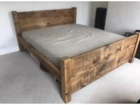 Rustic wooden super king bed