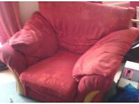 Free 2x Large red armchairs