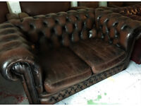 Leather Chesterfield sofa...chairs also available