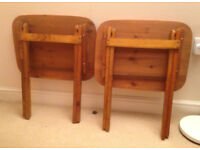 2 X vintage antique folding table side table in pine wood