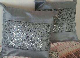 Two Grey Cushions with sequins, 14''