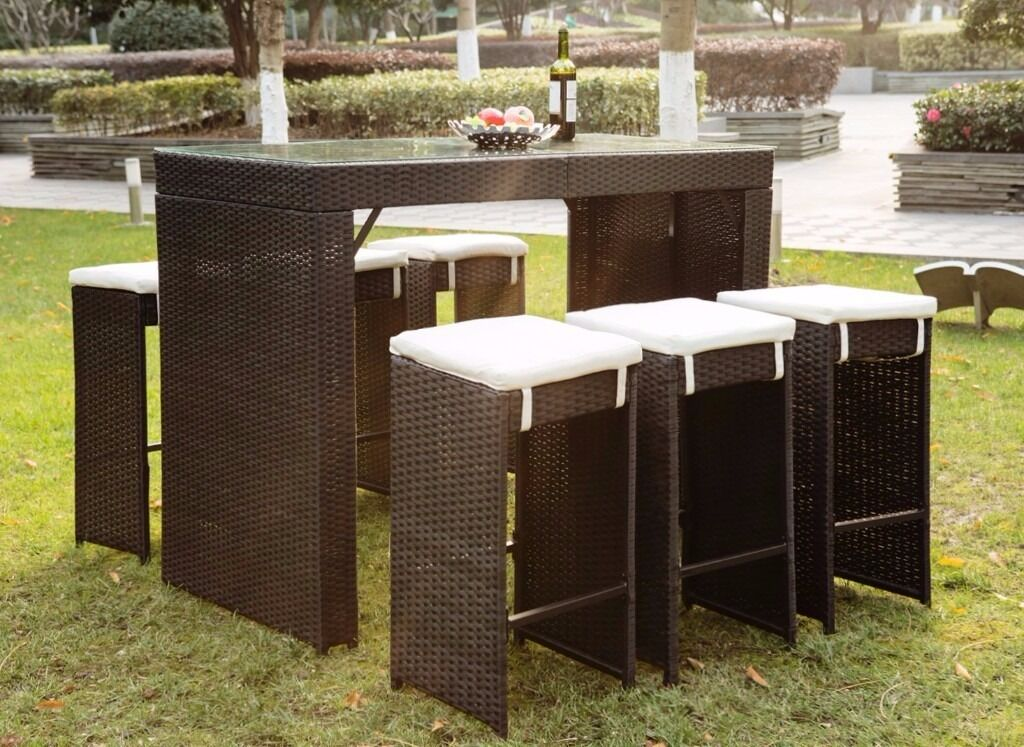 Rattan Wicker Patio Bar Stool Dining Table Furniture Set 6 Seater Bar Set  With