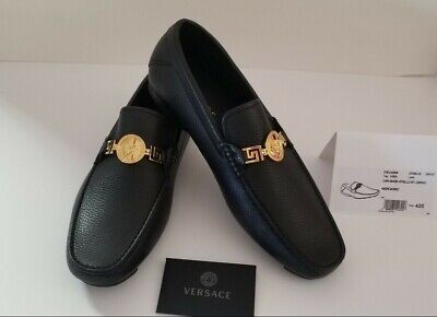 VERSCAE MEN'S GRECA MEDUSA LOAFERS Black/Gold New With Box Size EUR 42 US 9 $675