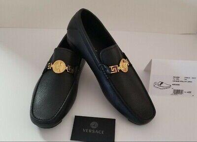VERSCAE MEN'S GRECA MEDUSA LOAFERS Black/Gold New With Box Size EUR 42 US 9 $675