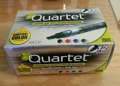 Quartet Liquid Ink Dry Erase Markers Chisel Tip Assorted Colors 12 Pack