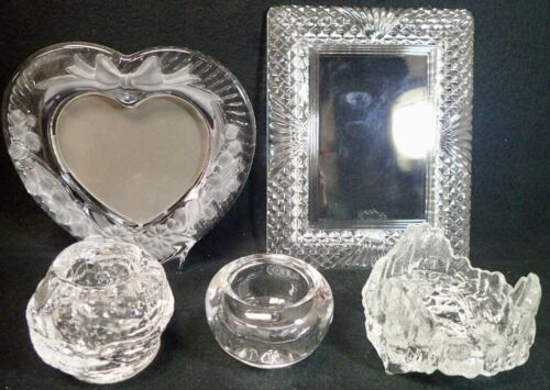 lot of 5 Lead Crystal and Heavy Glass Picture Frames & Candle Holders