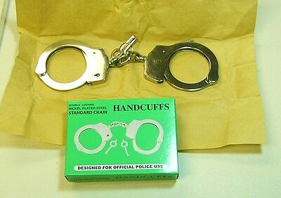 Professional Handcuffs Nickel Plated  Steel Double Lock  with 2 Keys new