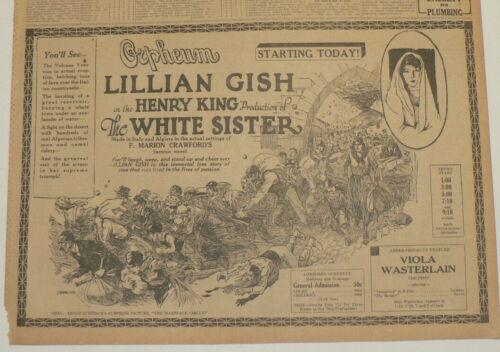 Lillian Gish in The White Sister, 1924 Original Large Newspaper Movie Ad