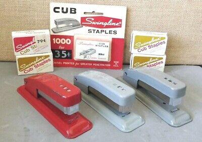 Vintage Lot Of 3 Swingline Cub Stapler Matching Staples -- Excellent Condition