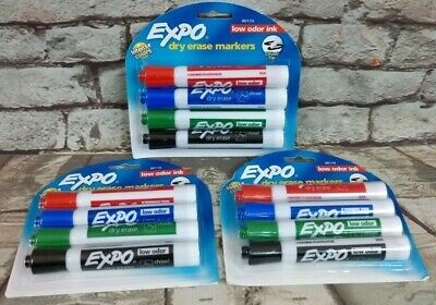 Expo Set Of 3 Dry Erase Markers Low Odor Chisel Tip 3 Packs 12 Total 80174