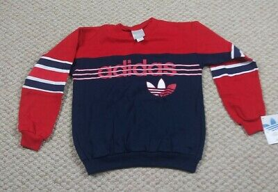 Vintage New Adidas Crewneck Sweater Trefoil Youth large Adult XS Red 90's