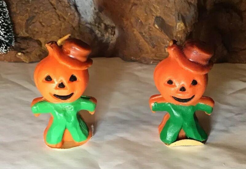 2 Vintage Gurley Jack O Lantern Pumpkin Scarecrow Halloween Candles NOS LOOK!