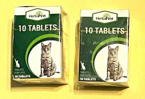 Two (2) Boxes NEW SEALED Feline Herbal Vet 10 Tablets Cat Intestinal