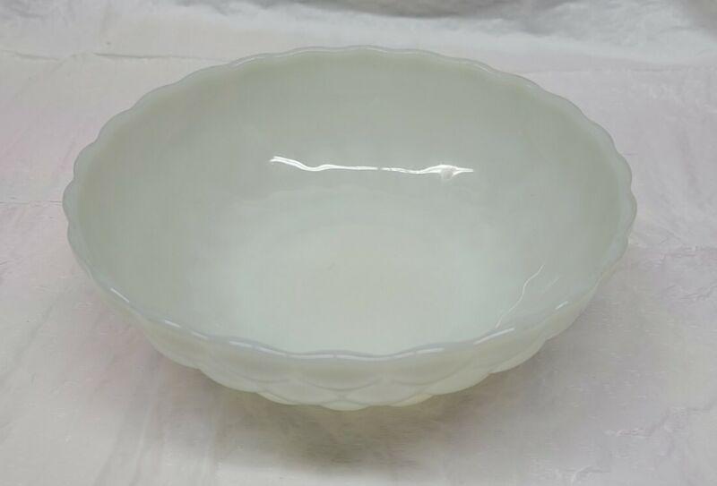 "Vtg Anchor Hocking Bowl White Milk Glass Bubble 8"" Vegetable Serving Dish Round"