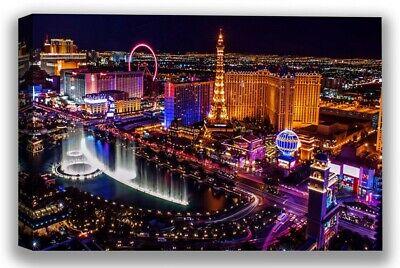 Las Vegas Party Night Lights Vegas View Canvas Art Led City Ligths Room Decor - City Party Decorations
