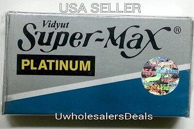 Купить 100 SUPER MAX PLATINUM DOUBLE EDGE SHAVING RAZOR BLADES BARBER SHAVE - NEW