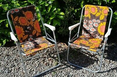 Vintage Retro Floral Folding Garden Deck Chairs Camping VW Brown Orange 60s 70s