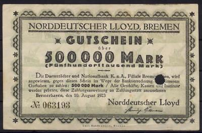 [10105] - NOTGELD BREMEN/BREMERHAVEN, NORDDEUTSCHER LLOYD; 500 Tsd Mk, 10.08.192