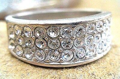 eleganter cocktail ring silber weiße steine im pavee 70er-80er wie neu 17,5mm