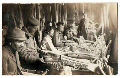 Ontario Walpole Island Native American Indian Axe Factory Pesha Postcard RPPC 2