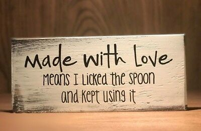 Kitchen Sign Decor (Rustic Wood Kitchen Sign MADE WITH LOVE, Farmhouse Home decor, funny,)