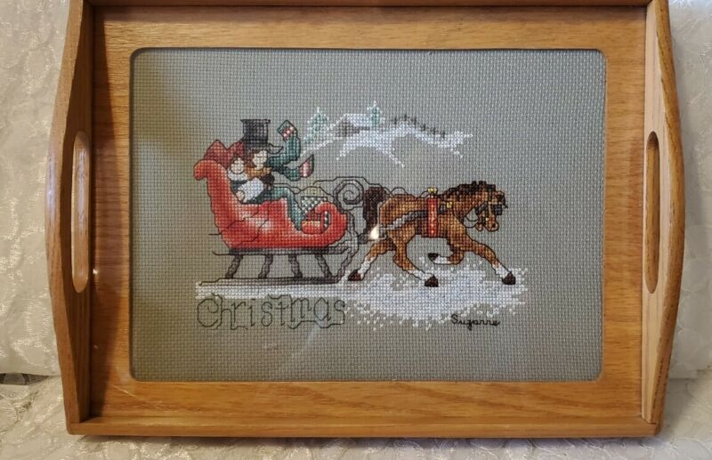COMPLETED SLEIGH RIDE CHRISTMAS CROSS STITCH SET IN TRAY