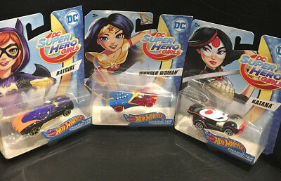 (Group of 3) DC Superhero Girls Hot Wheels Character Cars / New in Package - Hot Superhero Girls