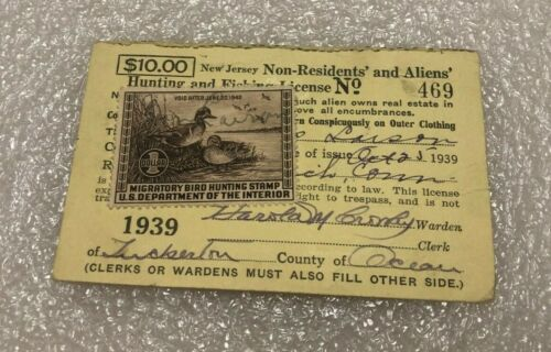 Vintage 1939 New Jersey Non Residents