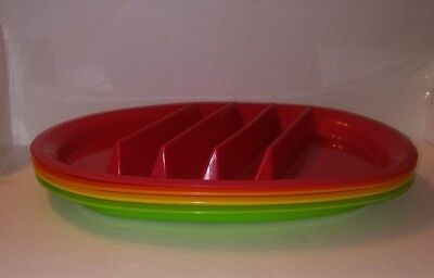 Colorful Taco Plate set of 4 Plastic plates Red Green Yellow Orange New - Green Plate Set