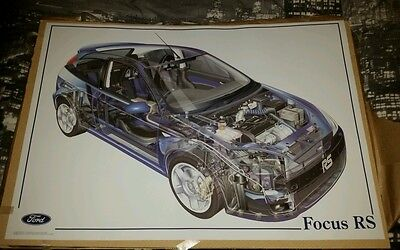 Ford Focus RS mk1 Skeleton poster A1 rare dealer Imperial blue