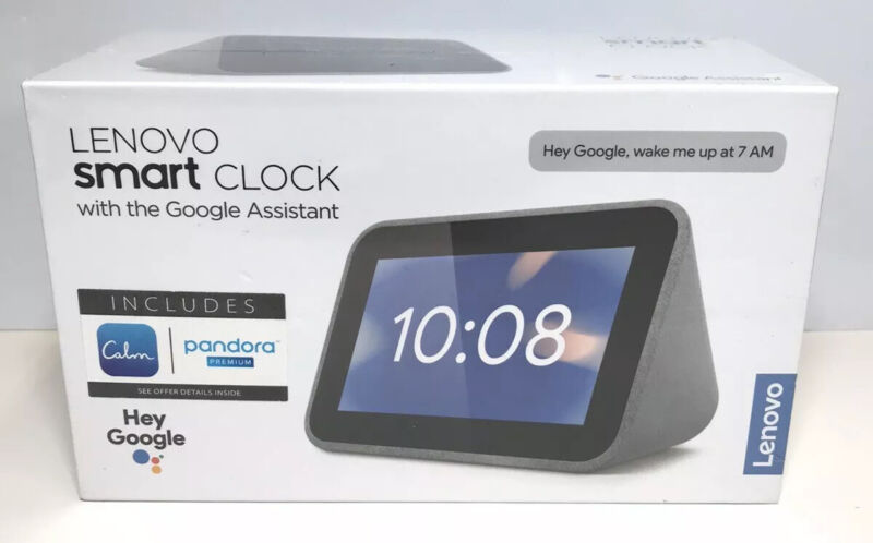 Lenovo Smart Clock with Google Assistant - Gray Touchscreen 9390