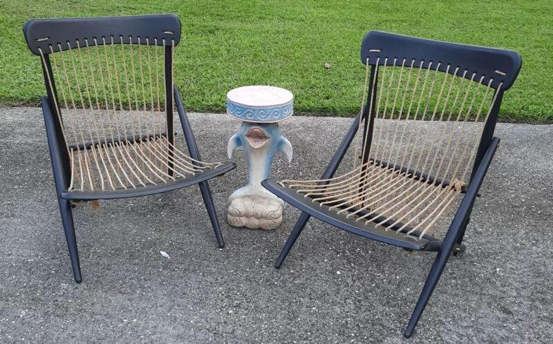 Mid century modern lounge chairs pair Maruni Rope Wood very rare Japanese