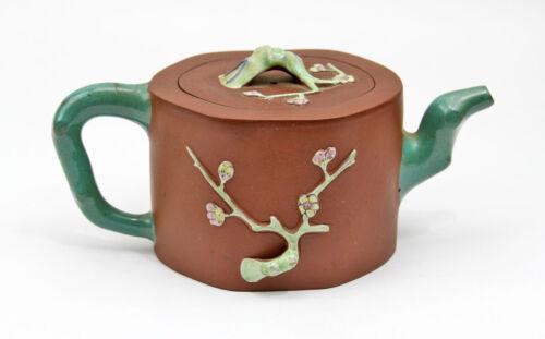 Vintage Antique Oriental Asian Chinese Enamel Yixing Zisha Red Clay Tree Teapot