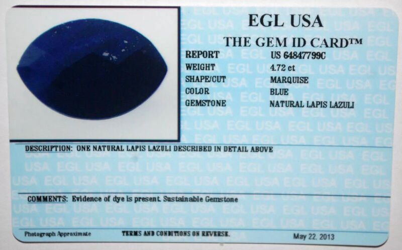 EGL USA TESTED & CERTIFIED MARQUISE CUT BLUE 4.72 CT NATURAL LAPIS LAZULI