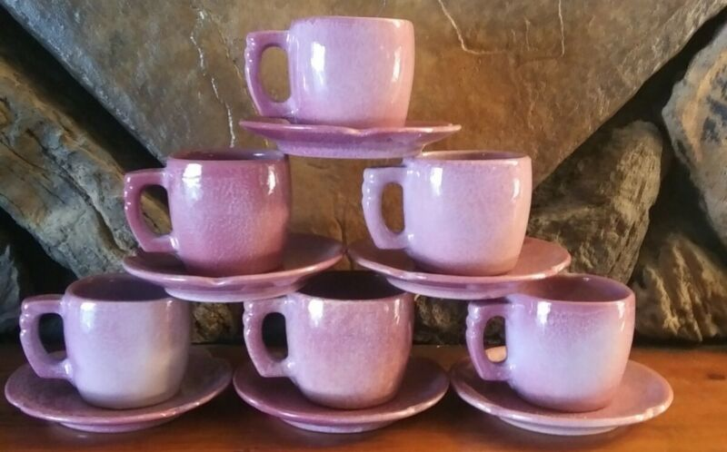 """Set of 6 Cups & 6 Saucers Frankoma Red Bud Pottery Handmade Pink Purple 5 3/4"""""""