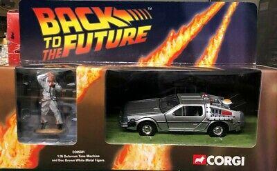 Corgi Die Cast Back to the Future Delorean Time Machine & Doc Brown Figure NIB