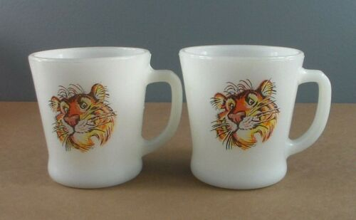 Vintage Fire King Esso Exxon Tiger Mugs Milk Glass Cup Gas Advertising set of 2