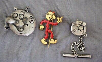 VINTAGE REDDY KILOWATT LOT LAPEL PIN AND 2 TIE CLIPS