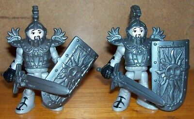 FISHER PRICE IMAGINEXT 2 GREY KNIGHTS with ARMOURS, SWORDS & SHIELDS