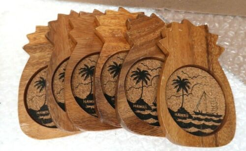 Lot of 6 Wood and Cork Hawaii Pineapple Coasters