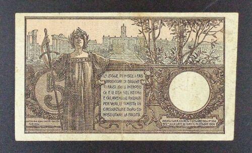 1904 Italy - Treasury Biglietto di Stato 5 Lire Banknote, P-23f.